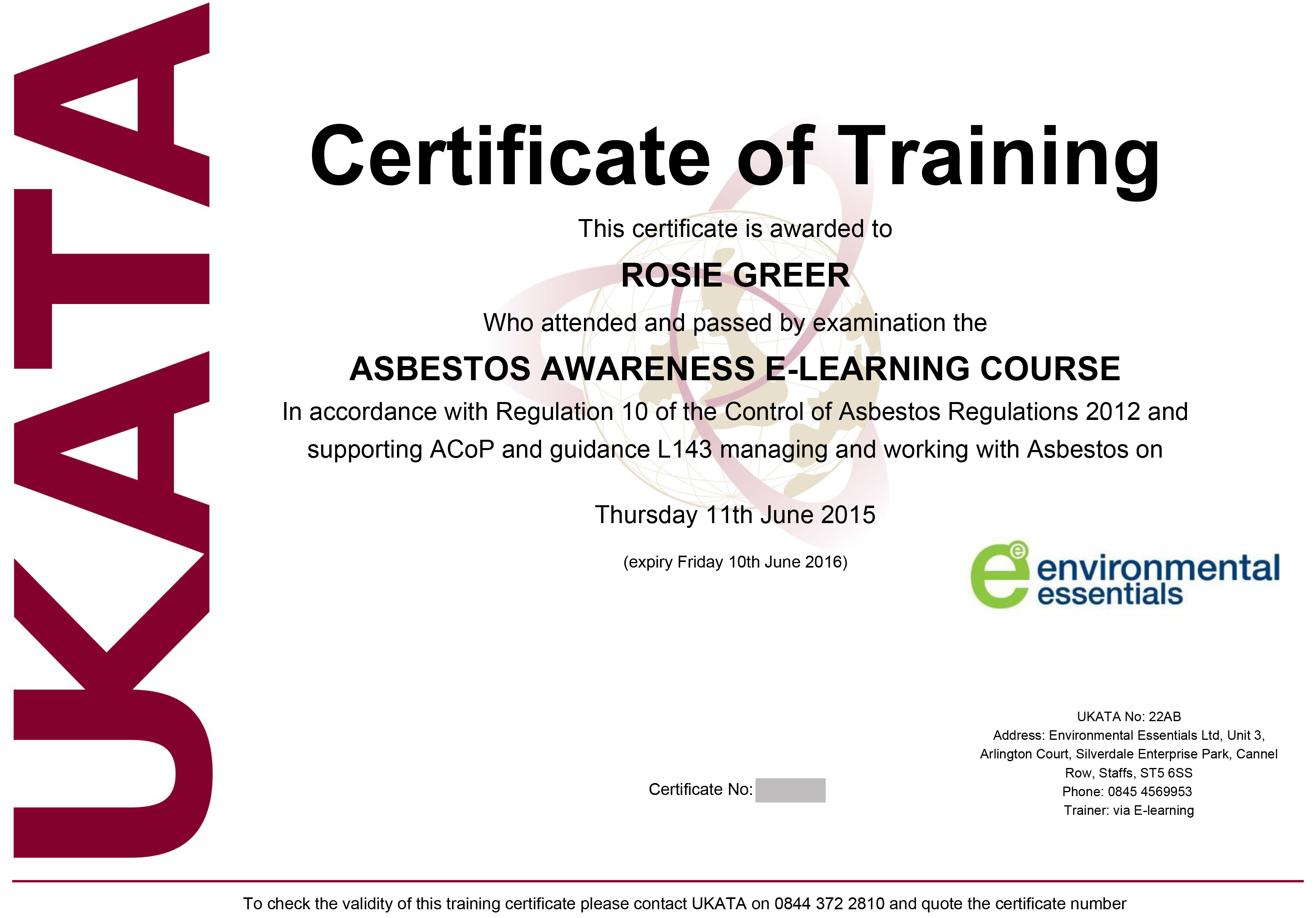 Asbestos awareness certificate template images templates example ukata certified asbestos awareness training online course related courses alramifo images yadclub Choice Image